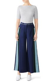Blue Striped Cady Culottes by Peter Pilotto