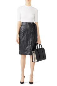 Faux Leather Wrap Skirt by (nude)