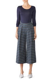Blue Plaid Cropped Pants by Christian Pellizzari