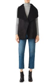 Black Don Faux Fur Vest by cupcakes and cashmere