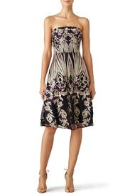 Purple Embroidered Cady Dress by David Meister