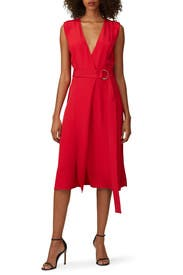 Red Sleeveless Wrap Dress by Jason Wu