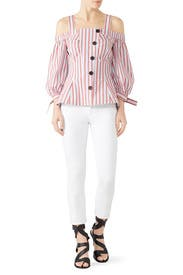 Buttoned Bell Sleeve Top by Derek Lam 10 Crosby