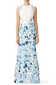 Blue Floral Flutter Gown by GABRIELA CADENA