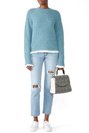 Shirting Trim Knit Sweater by Milly