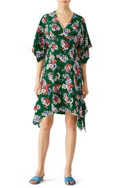 Green Floral Silk Handkerchief Dress by MSGM