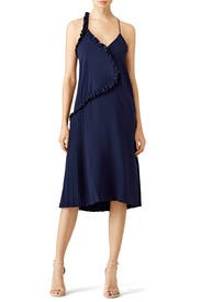 Navy Ruffle Slip Dress by Cedric Charlier