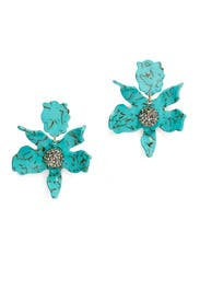 Turquoise Crystal Lily Earrings by Lele Sadoughi