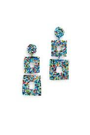 Multi Double Square Earrings by Kenneth Jay Lane