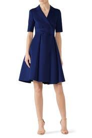 Blue Flare Suit Dress by Badgley Mischka