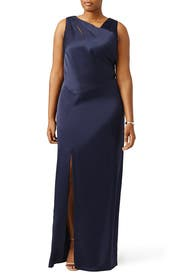 Navy Side Slit Cut Out Gown by Kay Unger