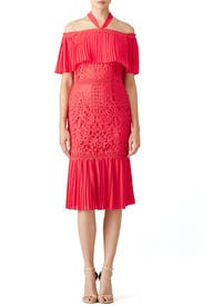 Coral Berry Lace Cocktail Dress by Temperley London
