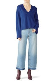 Military Blue V-Neck Pullover by Derek Lam 10 Crosby