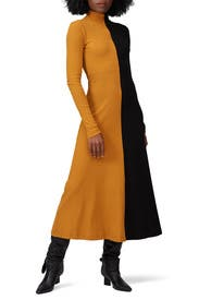 Long Sleeve Zip Up Turtleneck Dress by Rosetta Getty