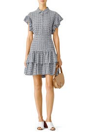 Blue Ruffle Stripe Dress by Rebecca Taylor