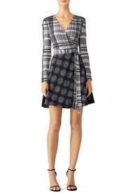 Mixed Print Wrap Dress by Diane von Furstenberg