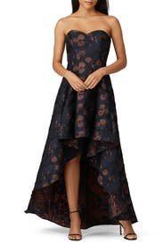 Floral High Low Gown by Badgley Mischka