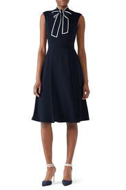 Navy Tie Neck Dress by Alexia Admor
