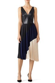 Colorblock Pleated Dress by Cedric Charlier