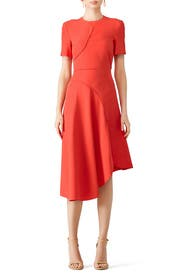 Red Asymmetrical Dress by Cedric Charlier