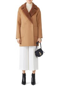 Dawn Faux Shearing Collar Coat by Trina Turk
