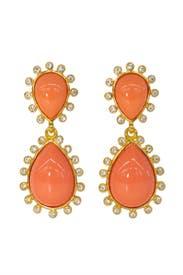 Crystallized Salmon Drop Earrings by Kenneth Jay Lane