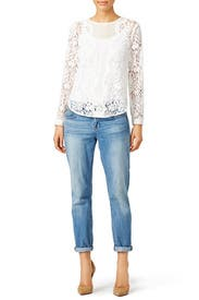 White Scalloped Lace Top by Rebecca Taylor