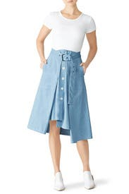 Chambray Tie Front Skirt by Colovos