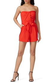 Red Strapless Romper by Great Jones