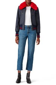 Dark Denim Bomber by Harvey Faircloth