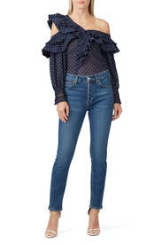 Navy Plumetis Frilled Top by Self-portrait