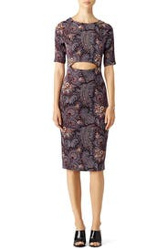 Paisley Wine Cut Out Dress by Suno