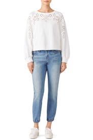 White Eyelet Sweatshirt by La Vie Rebecca Taylor