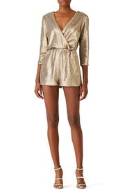 Gold Sequin Romper by Ali & Jay