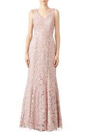 Blush Floral Lace Gown by JS Collection