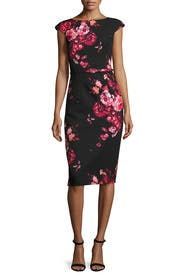 Belted Floral Sheath by David Meister