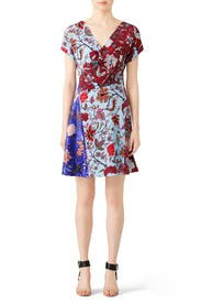 Multi Floral Faux Wrap Dress by Diane von Furstenberg