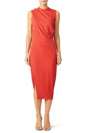 Red French Twist Sheath by Narciso Rodriguez
