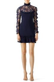 Navy Lace Insert Dress by Nicholas