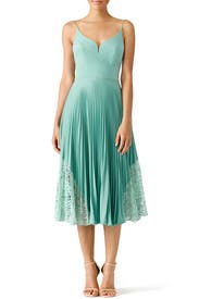 Mint Pleated Sweetheart Dress by Nicole Miller