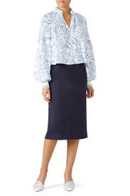 Isa Toile Cropped Edwardian Top by Tibi