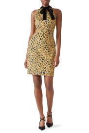 Leopard Tie Neck Sheath by Alexia Admor