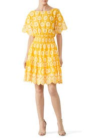 Embroidered Yellow Dress by Tory Burch