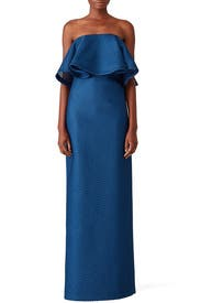 Strapless Mesh Gown by HALSTON