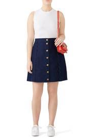Scallop A Line Denim Skirt by Draper James X ELOQUII