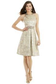 Metallic Elderflower Dress by Carmen Marc Valvo