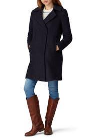 Navy Faux Trim Coat by Novelti