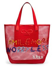 Smile More Woven Tote by Anya Hindmarch