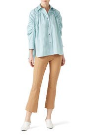 Stripe Ruched Sleeve Blouse by Cedric Charlier