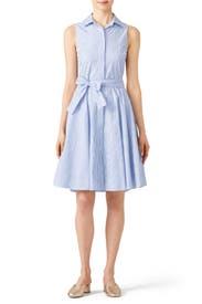 Blue Stripe Day Dress by Badgley Mischka